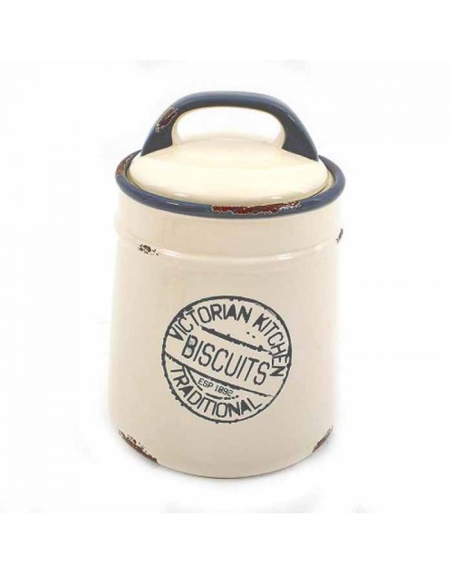BISCUIT JAR (23*15 CM.) WHITE BLUE ANTIQUE 5-405