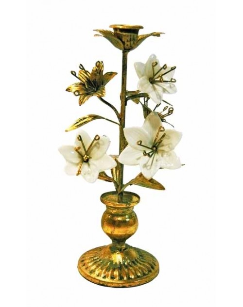 CARVED CANDLE HOLDER (18*12*14 CM.) GOLD WHITE FLOWERS 6-001