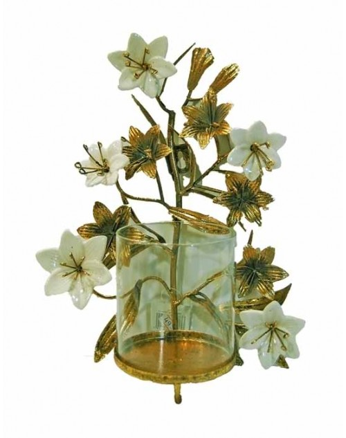 CARVED WALL CANDLE HOLDER (32*23*13 CM.) GOLD WHITE FLOWERS 6-003