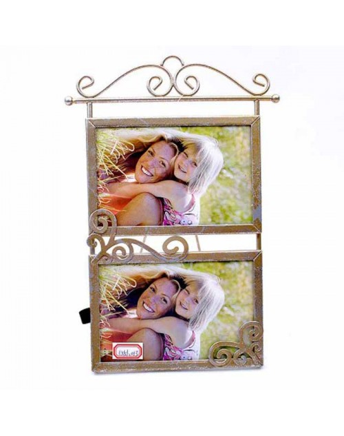 DOUBLE PHOTOFRAME (10*15 CM.) SILVER METAL 4-013