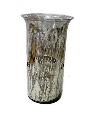 κηροπήγιο 38*22 εκ. ασημί αντικέ γυαλί 10-80