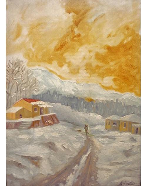 πίνακας ζωγραφικής 50*70 εκ. χιονισμένο τοπίο 508