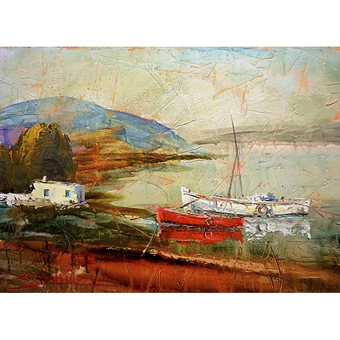 Πίνακας ζωγραφικής 50*70 εκ. βάρκες 440