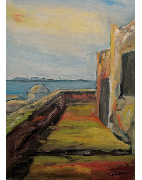 πίνακας ζωγραφικής 50*70 εκ. κυκλαδίτικο τοπίο 520