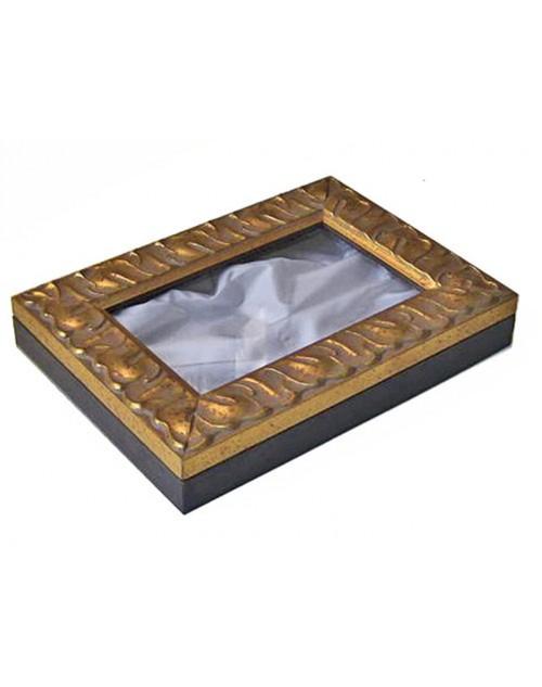 Στεφανοθήκη 25*35*6 εκ. ξύλινη σκαλιστή χρυσή 985
