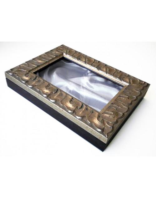 Στεφανοθήκη 25*35*6 εκ. ξύλινη σκαλιστή ασημί 984