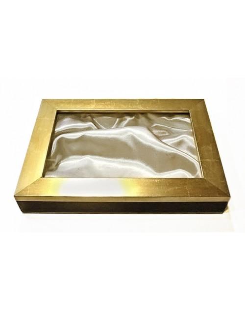 Στεφανοθήκη 25*35*5 εκ. μοντέρνα ξύλινη χρυσή 1538