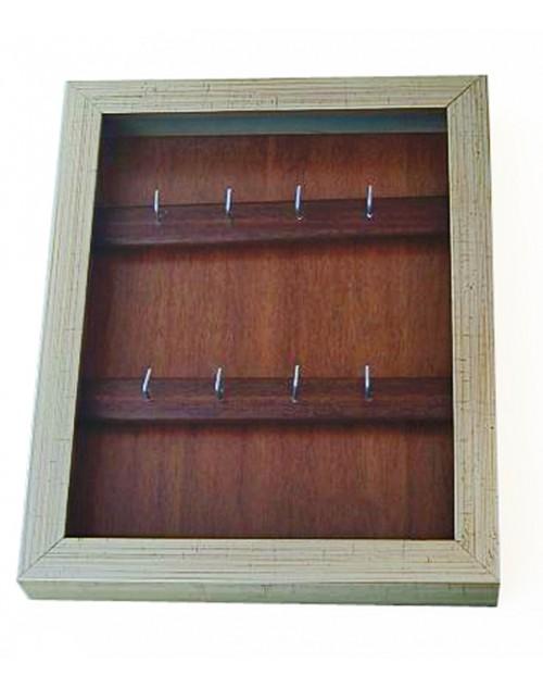 κλειδοθήκη τοίχου 26,50*21,50*4 εκ. ξύλινη ασημί 1370wk